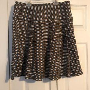 LUX 9 Skirt Brown Blue Cream Wool A-Line Pleats